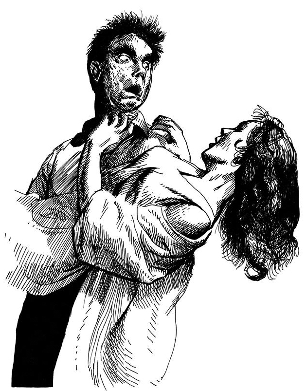 Vampire Carring Struggling Woman
