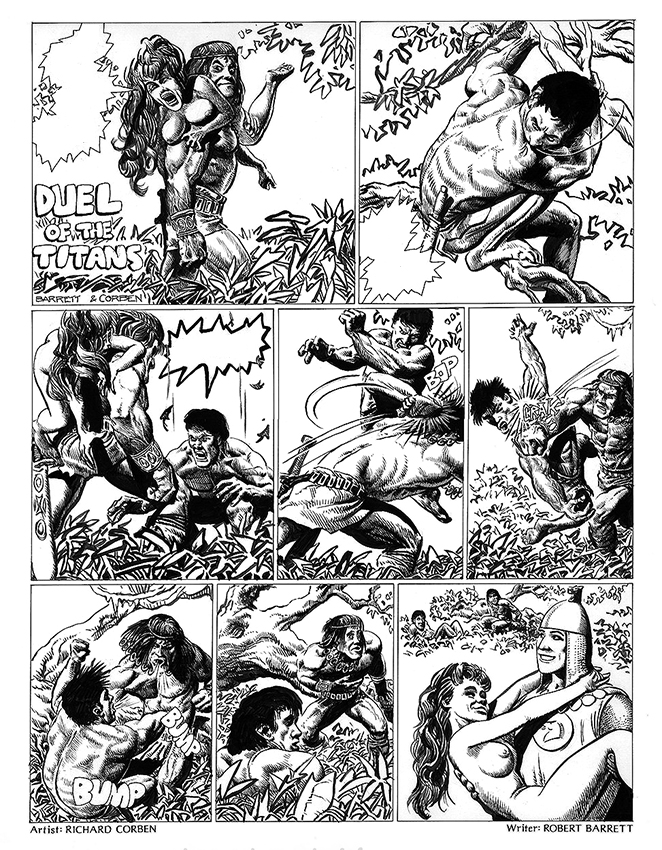Duel of the Titans. Original Art Plate